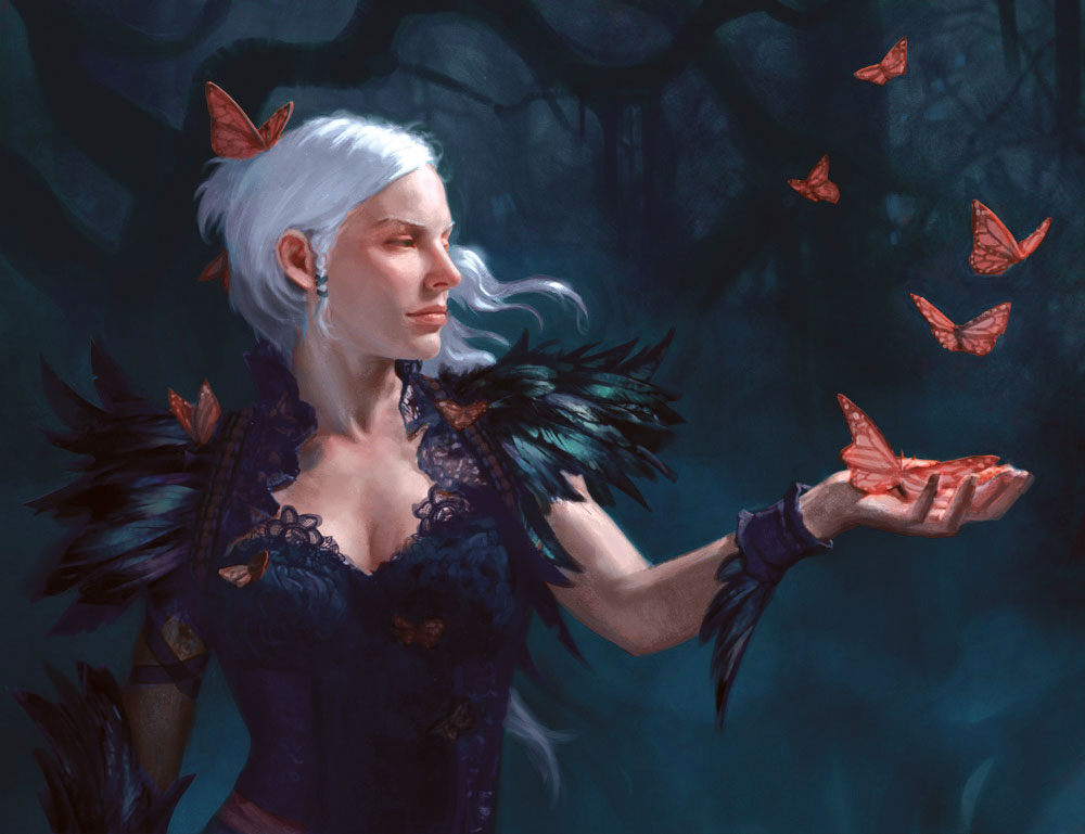 Fantasy art portrait of a woman surrounded by butterflies