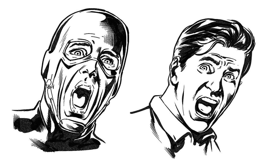 Two sketches of a man shouting