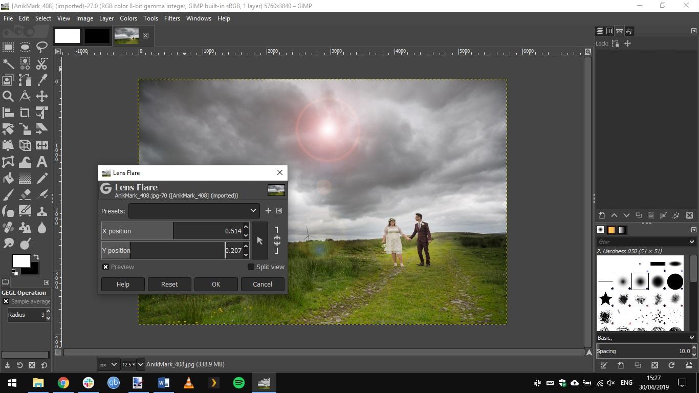 GIMP interface