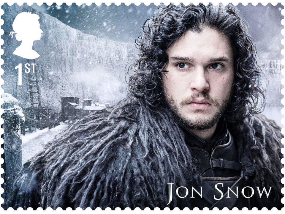 Stamp showing Kit Harington as Jon Snow