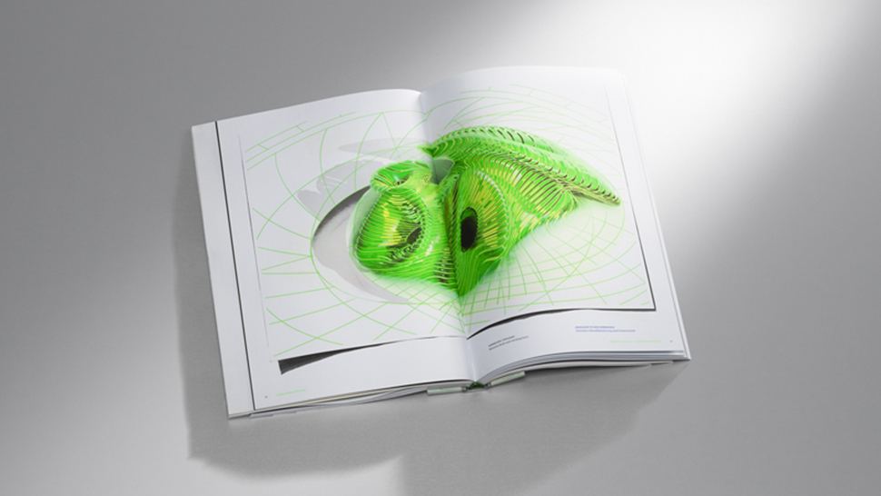 Green 3D illustration in an annual report