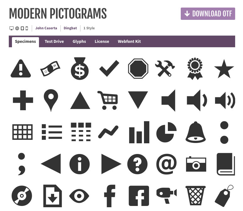 modern pictograms interface