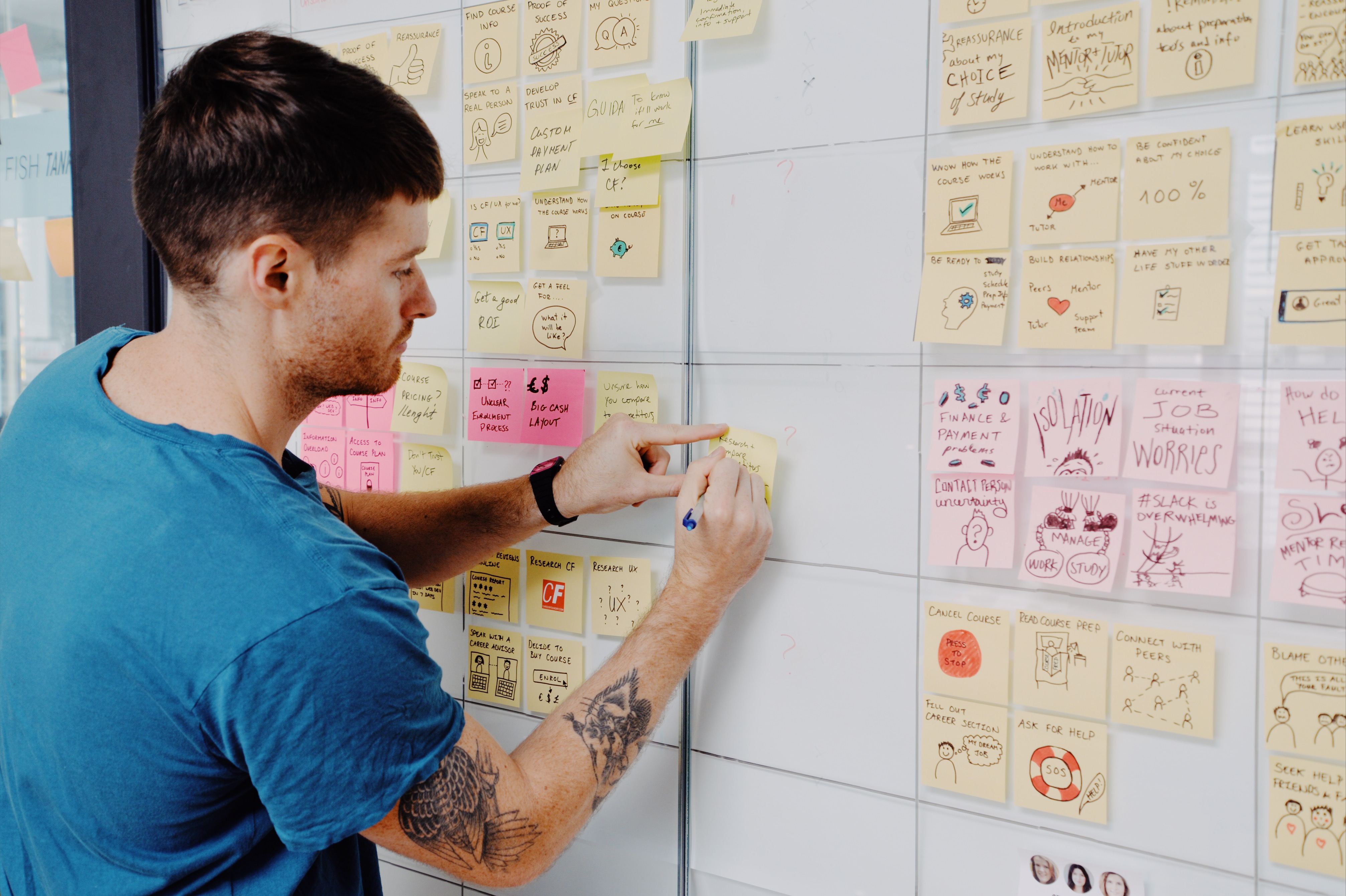 Man sticking post-its with ideas and illustrations onto a board