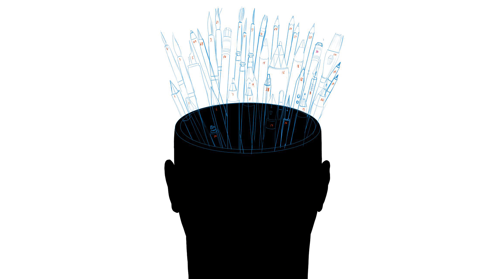 Danie Stolle illustration person with pens coming out of their head