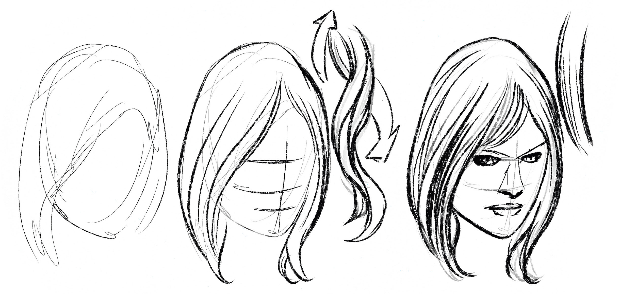 Sketches of a face with hair