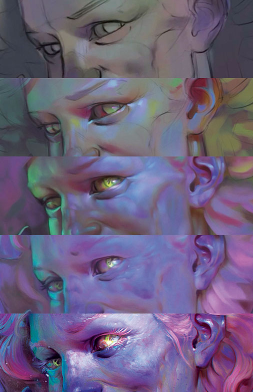 colourful zombie creation, five versions