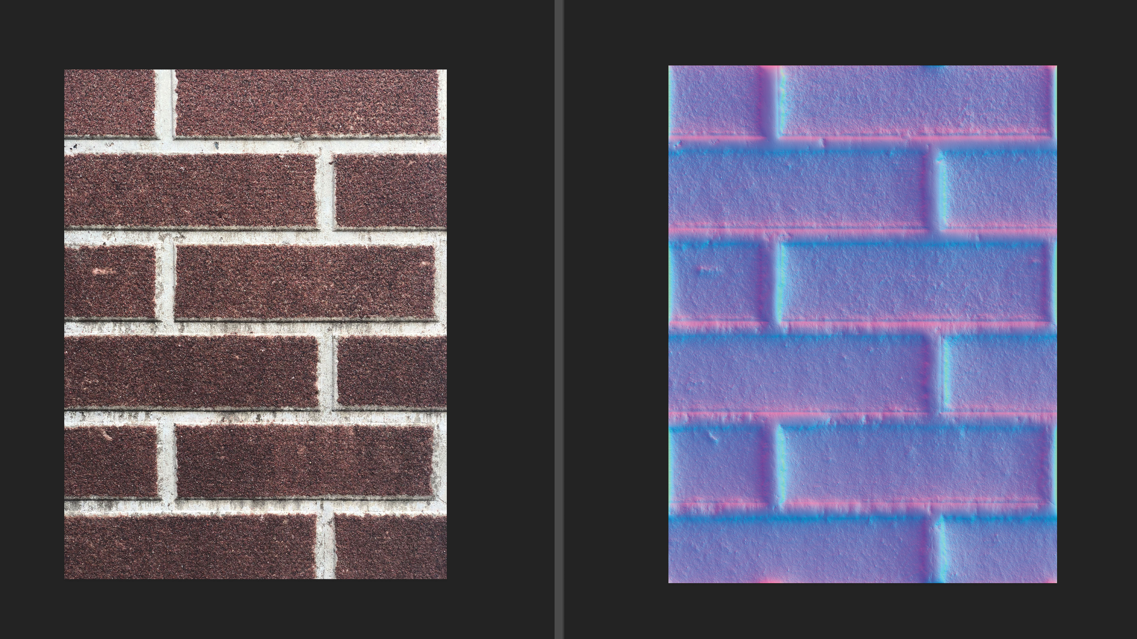 A photo of a brick wall converted into a normal map