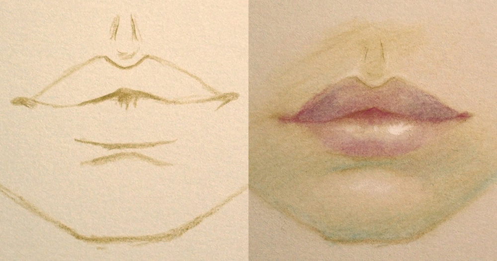 Outline of lips (left), shaded in (right)