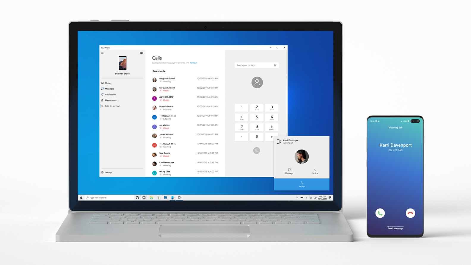 Windows 10 now lets all users make Android phone calls from a PC with Your Phone