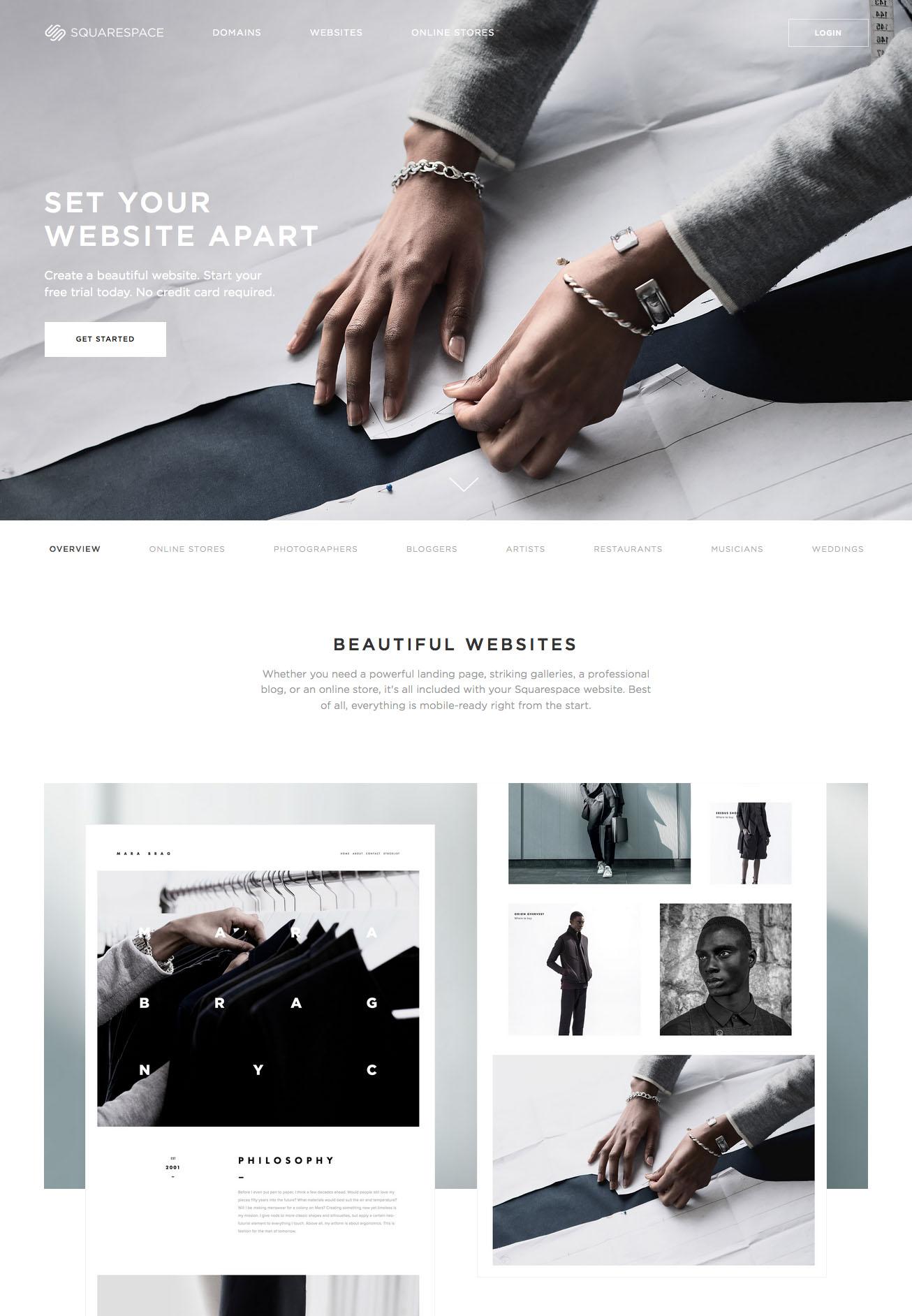 Landing page design: Squarespace
