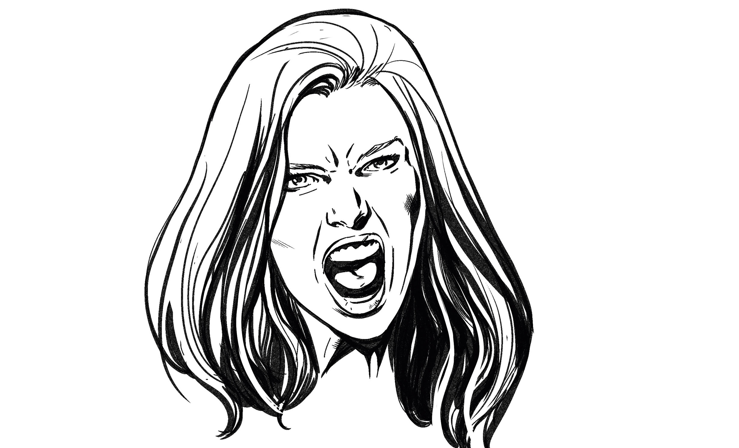 Drawing of a woman yelling