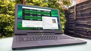 Audio editor on a laptop
