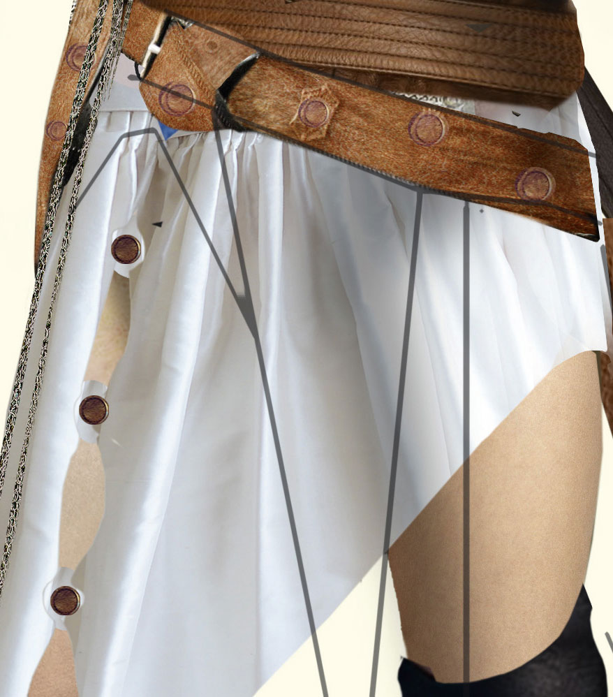 Skirt draped over a thigh
