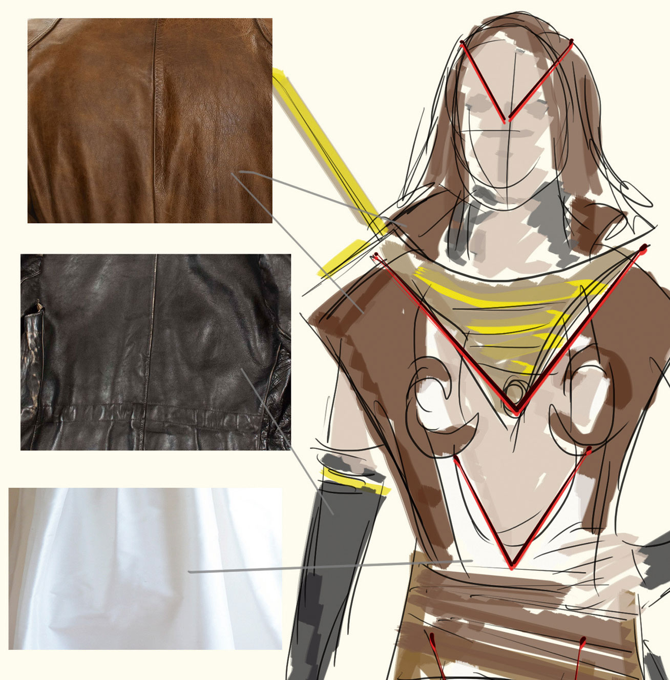 Mood board of multiple costume textures