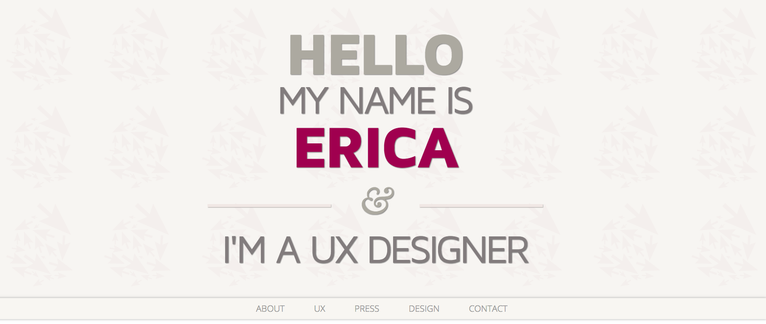 Title says 'Hello my name is Erica and I'm a UX designer'