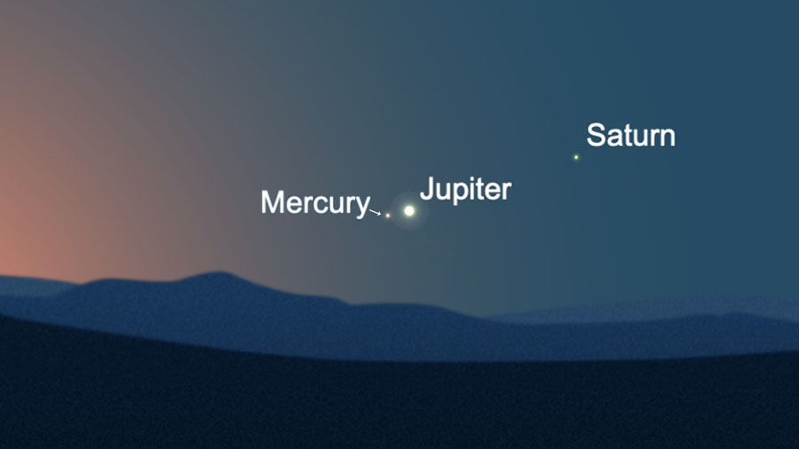 Mercury meets up with Jupiter (Saturn and the moon, too!)  In the morning this week thumbnail