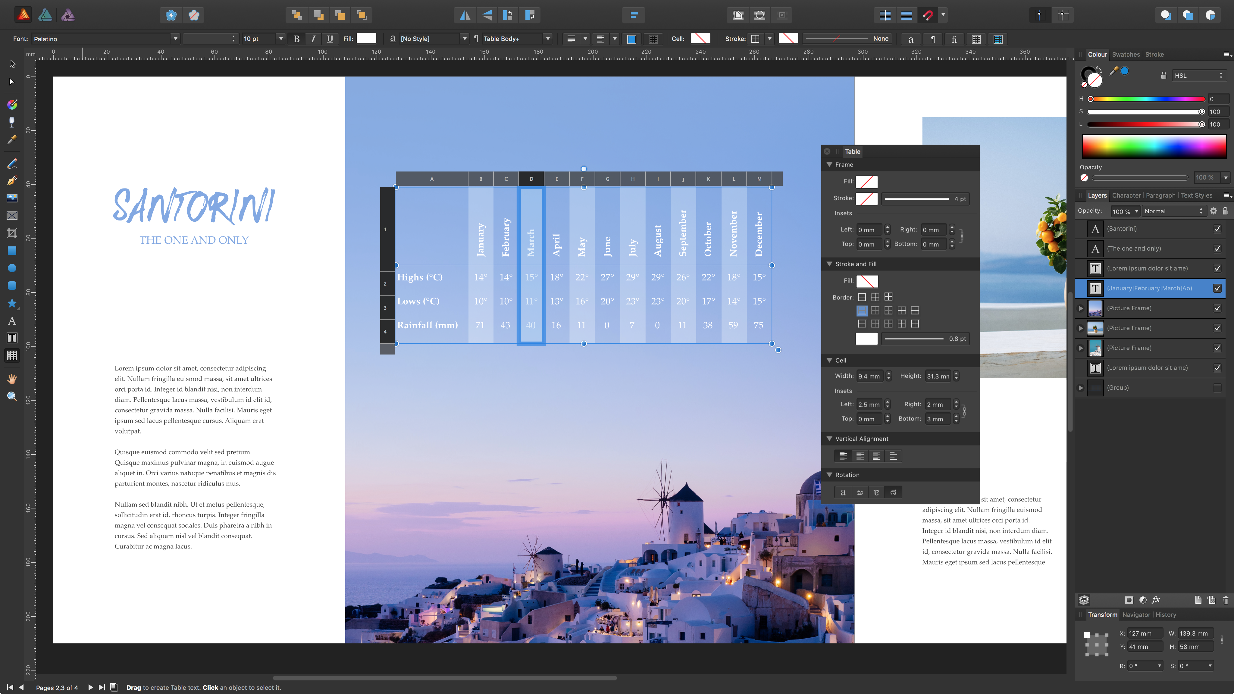 User creating a table in Affinity Publisher