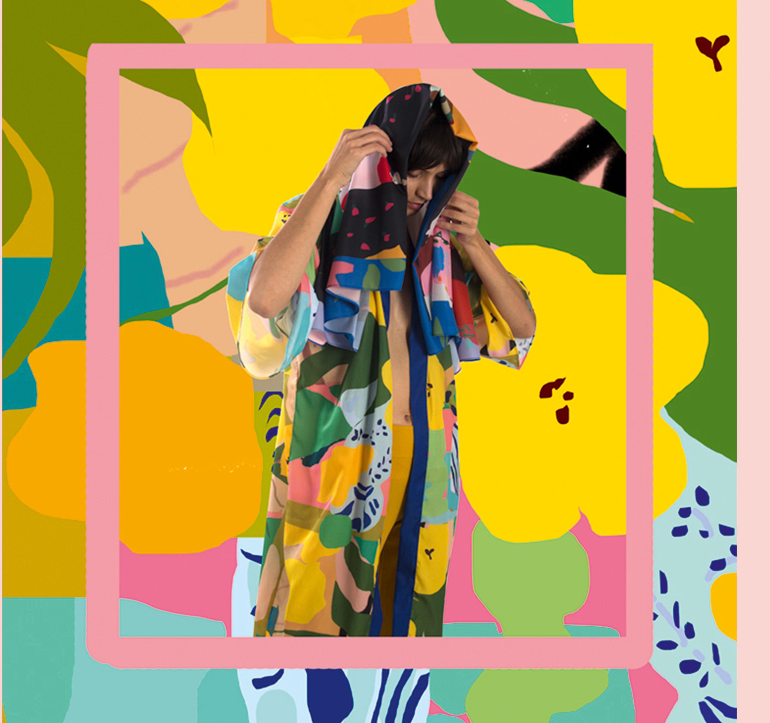 model wearing yellow-green kimono