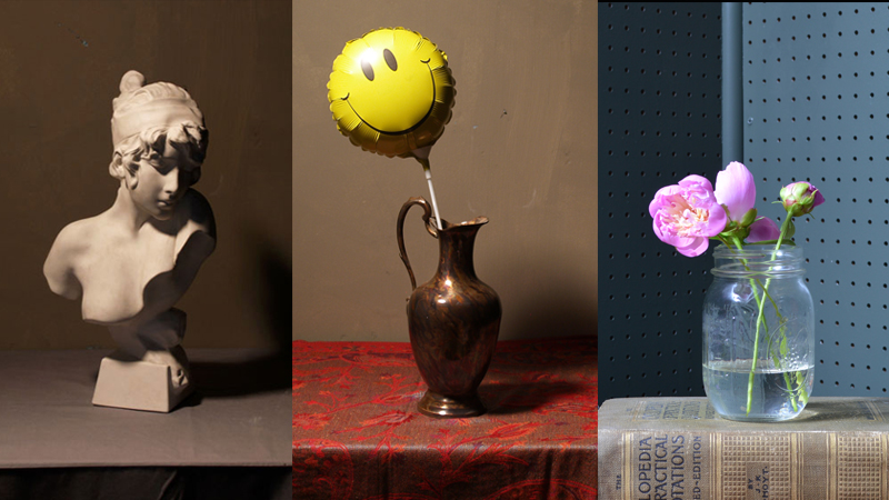 Reference images: image of a bust, vase with a balloon and jam jar with a flower in