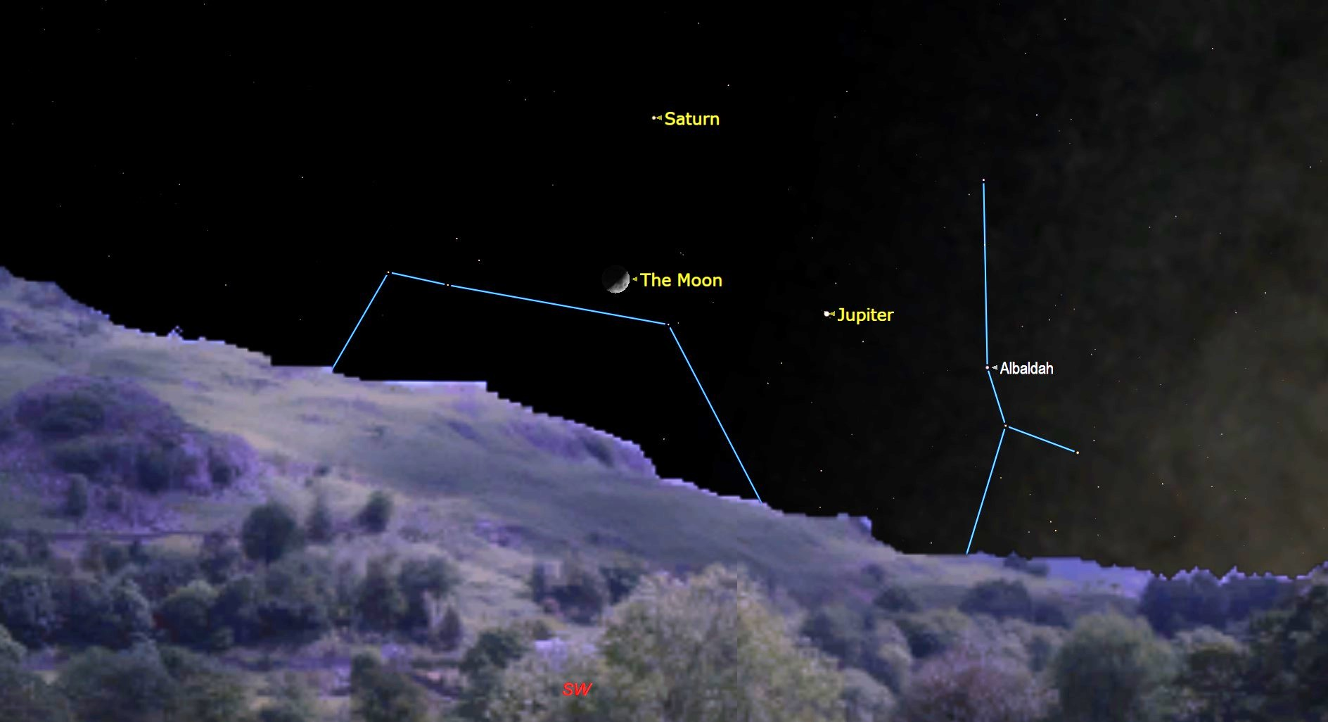 Look up! The moon will pay Jupiter and Saturn a visit tonight