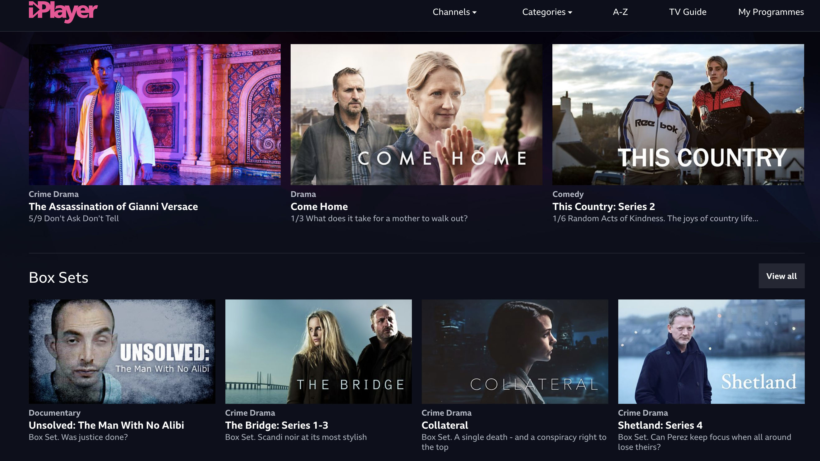 A photo of the BBC iPlayer homepage