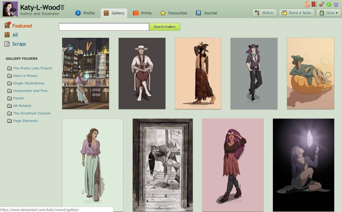 Social media platforms: Katy L Wood's work on DeviantAt