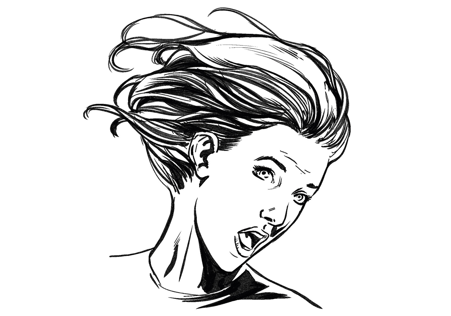 Sketch of a woman with her head twisted to one side