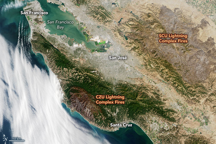 Severe burn damage from California wildfires seen from space