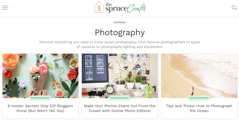 Photography websites: The Spruce