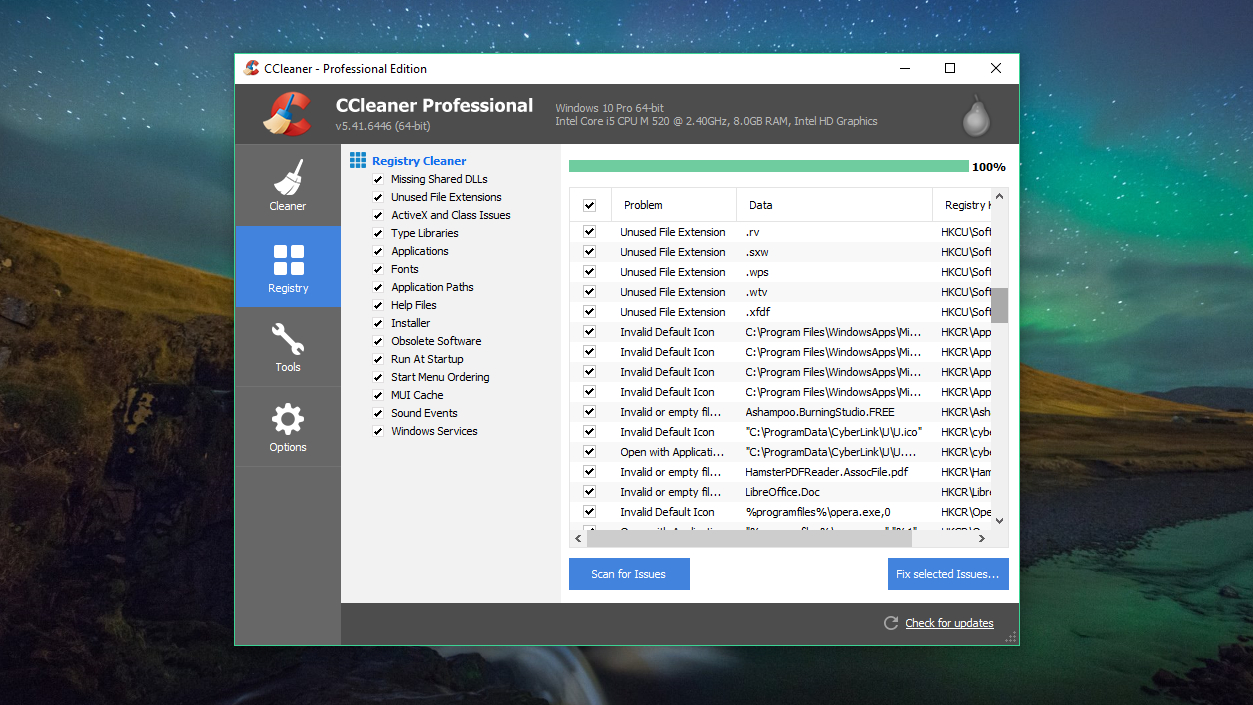 Piriform CCleaner Professional registry cleaner