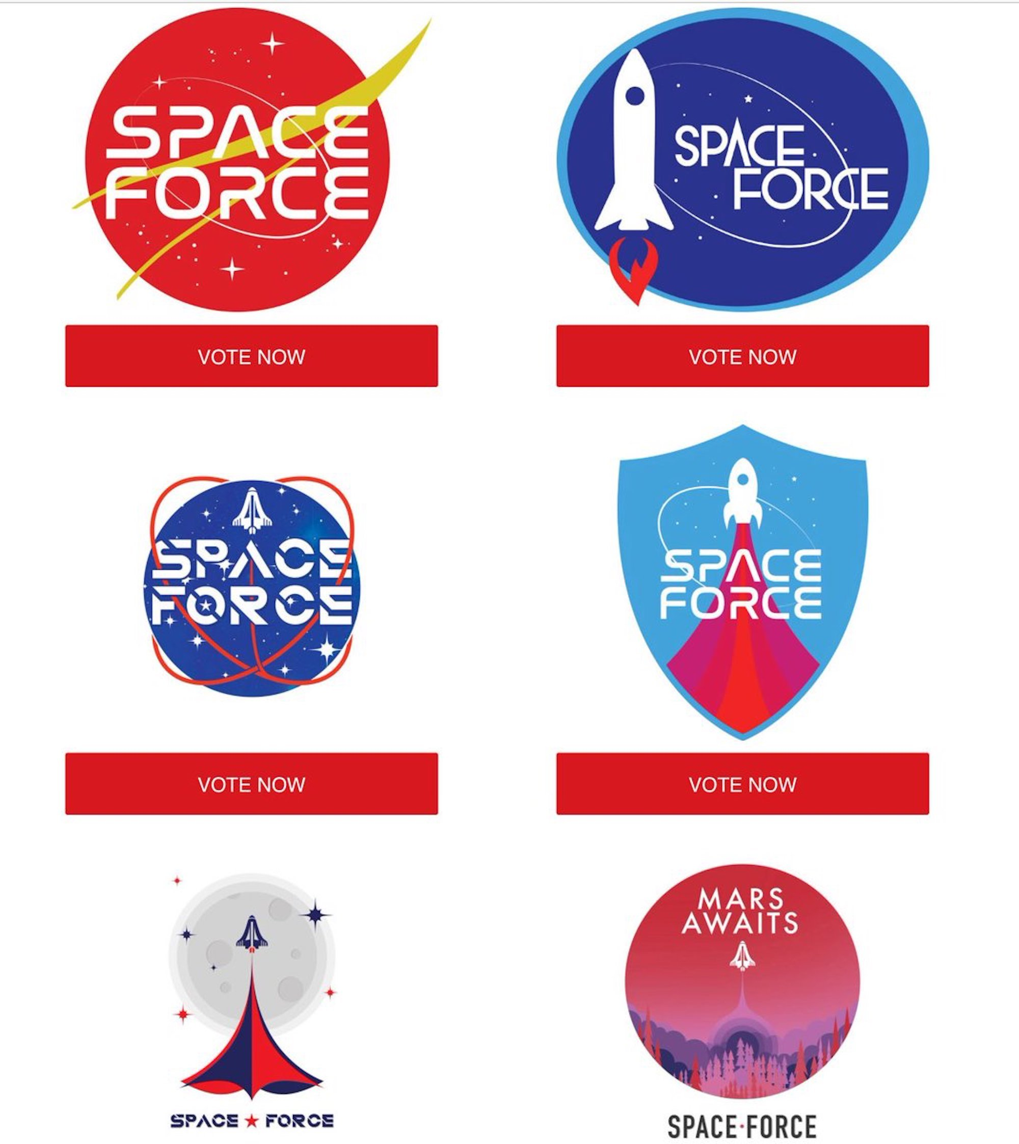 Selection of six potential Space Force logos