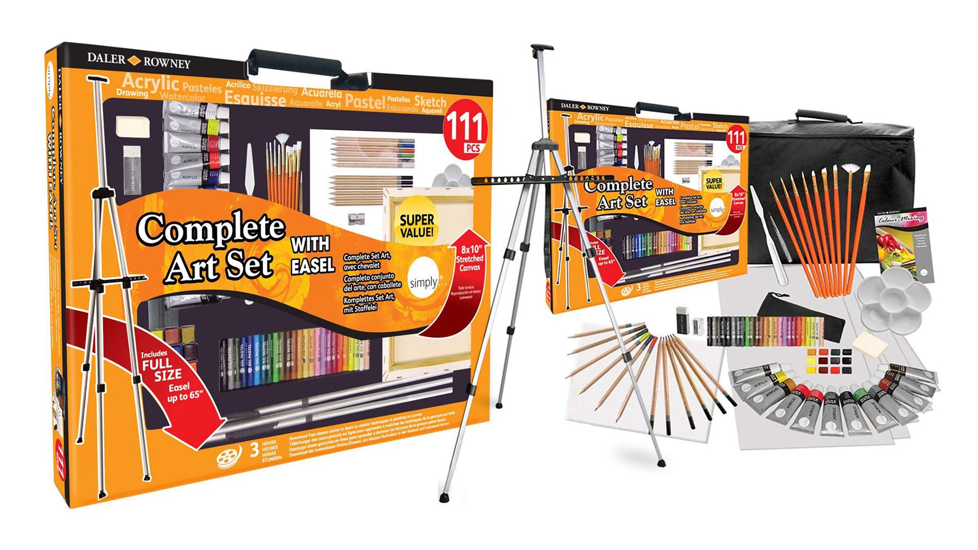 art easel: Daler Rowney 111-piece paint set