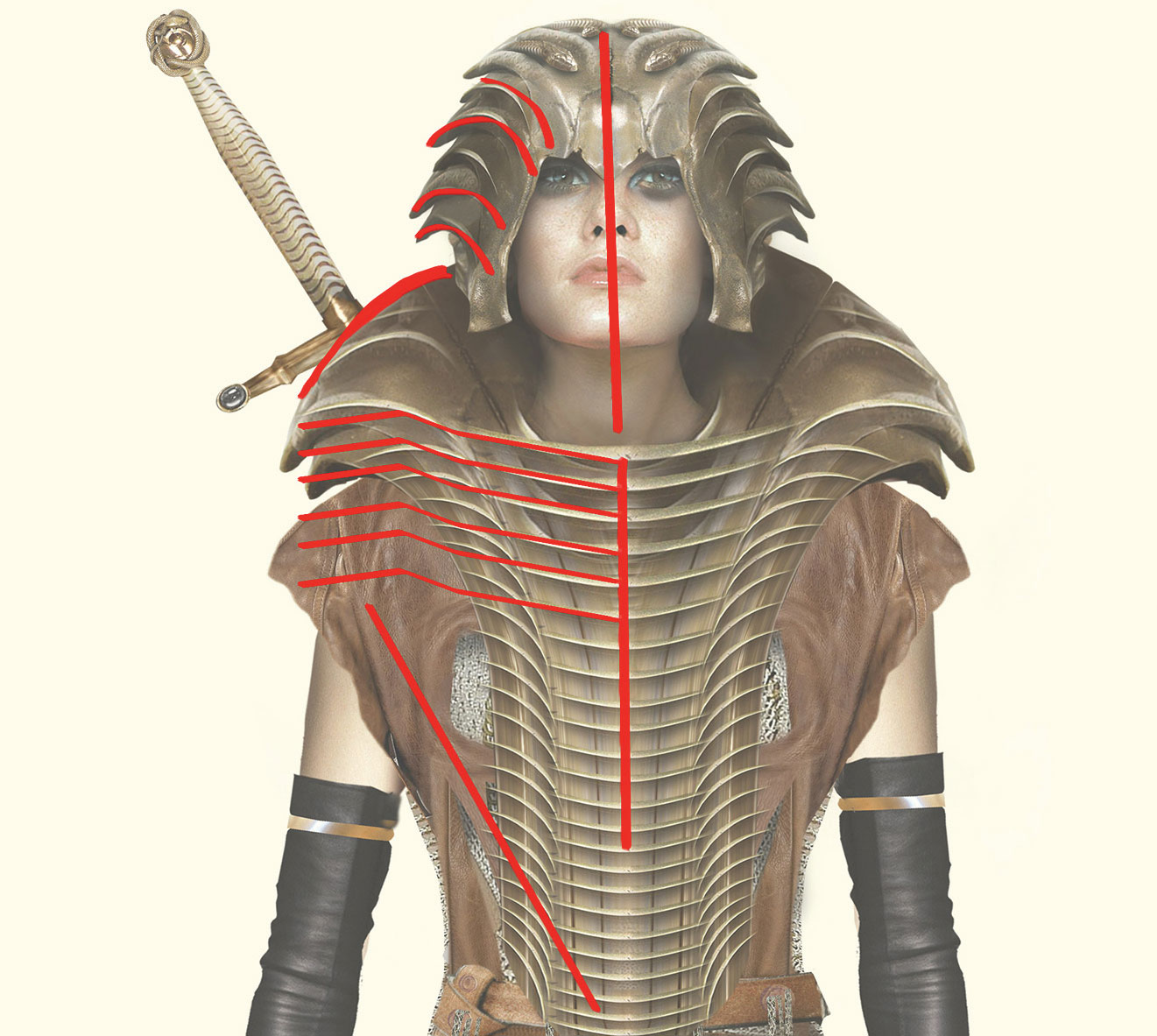 Female fantasy figure with directional lines