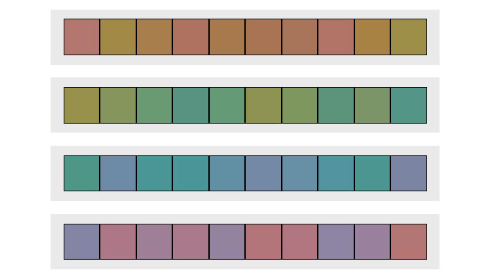 Spectrums of colour tiles arranged in a jumbled up order