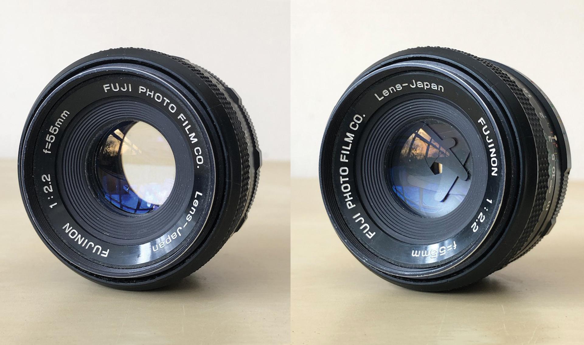 A pair of camera apertures