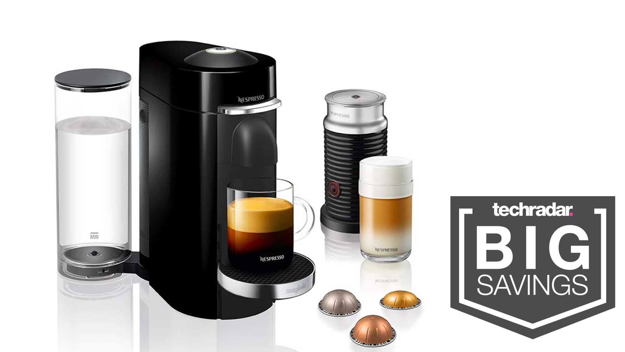 Espresso yourself and save AU 90 on the Nespresso Vertuo Plus with milk frother