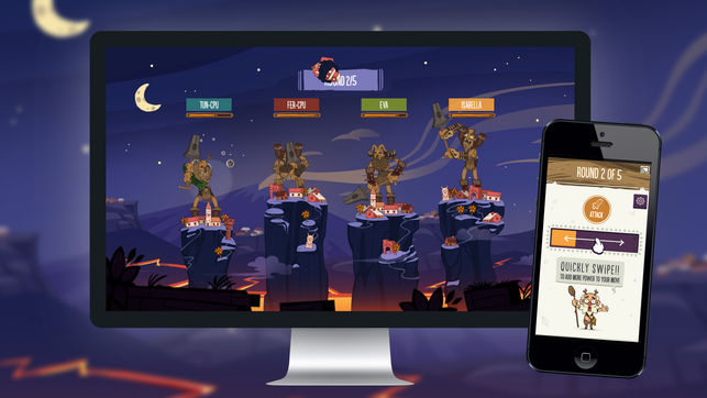 A photo of Tricky Titans being used on a computer and mobile device