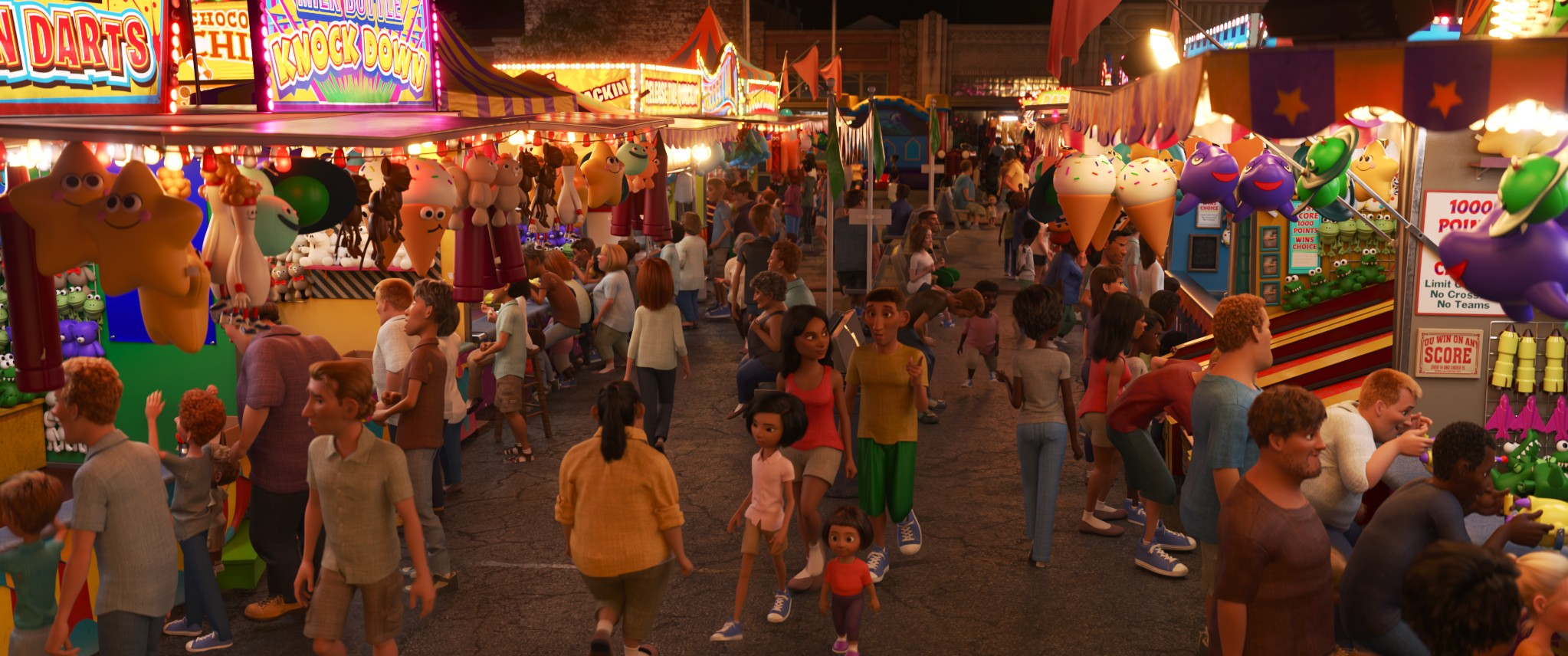 CGI scene of people enjoying a carnival at night