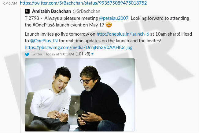 Amitabh Bachchan shows off black and white variants of One Plus 6