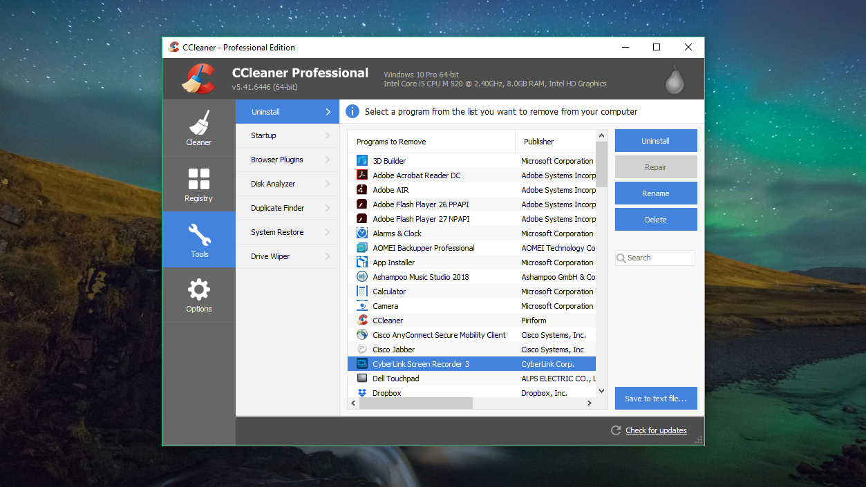 Piriform CCleaner Professional software uninstaller