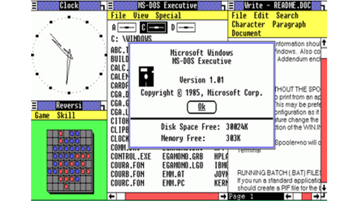 Screen show of Windows MS Dos