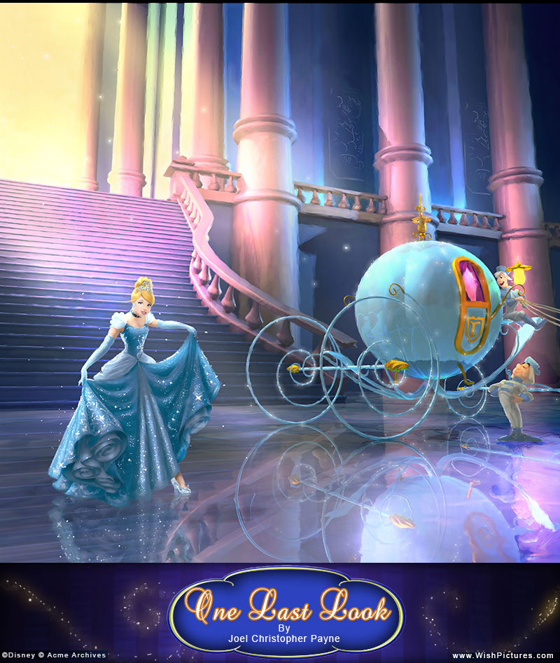 Finished image of Cinderella in her castle by her carriage