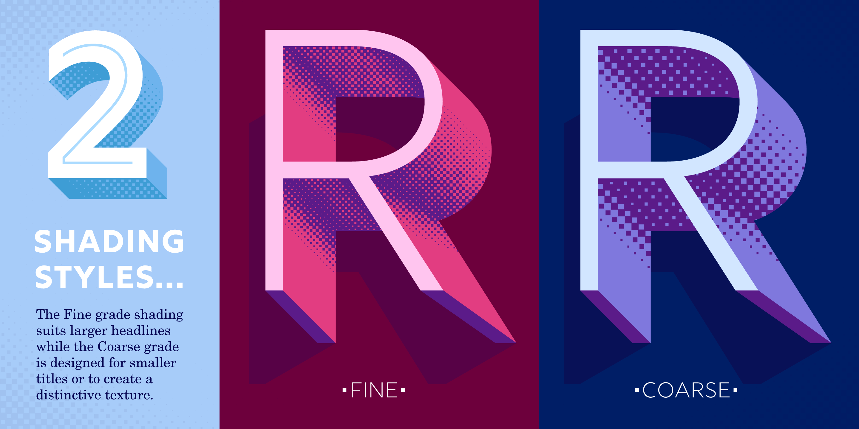 2 shading styles on an 'R'