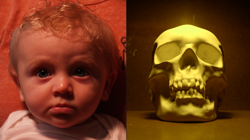 Reference images:  photo of a baby and a skull