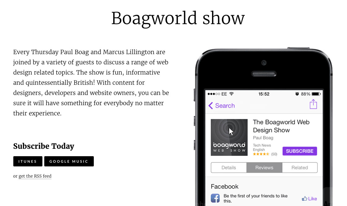 Web design podcasts:Boagworld