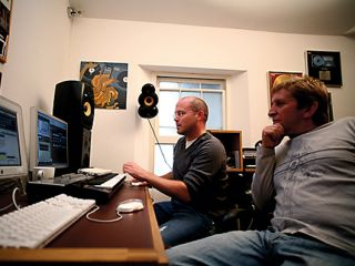In demand remixers Freemasons at work in the studio.