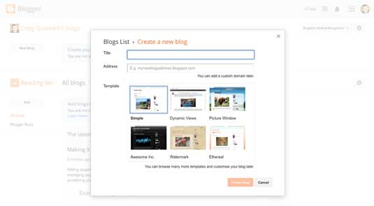Blogger site screenshot