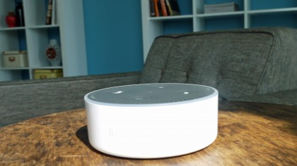 It's easy to control your Hue lights using an Amazon Echo speaker like the Dot, pictured above (Image Credit: Philips)
