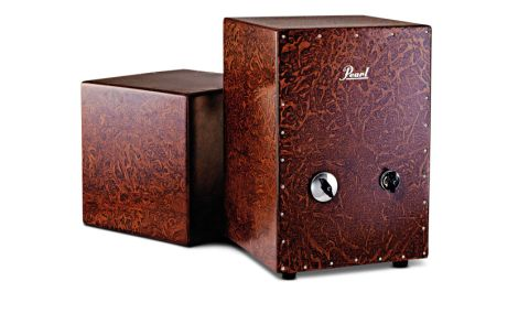 The Jingle Cajon (right) has familiar dimensions with three internal fixed snare-wire sets and rear sound hole