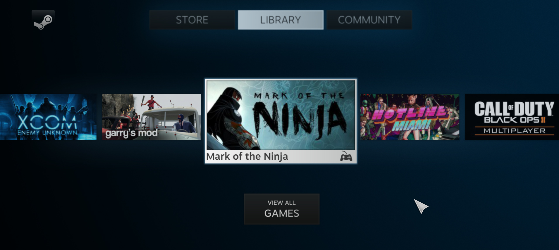 Steam Big Picture mode launches with controller-friendly